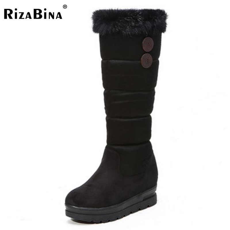 RizaBina Women Knee Boots Thick Fur Long Boots Women For Cold Winter Shoes Warm Boots Snow Botas Woman Footwear Size 34-39 kemekiss women warm plush warm snow boots for women thick platform ankle botas female thick fur winter footwear size 36 40
