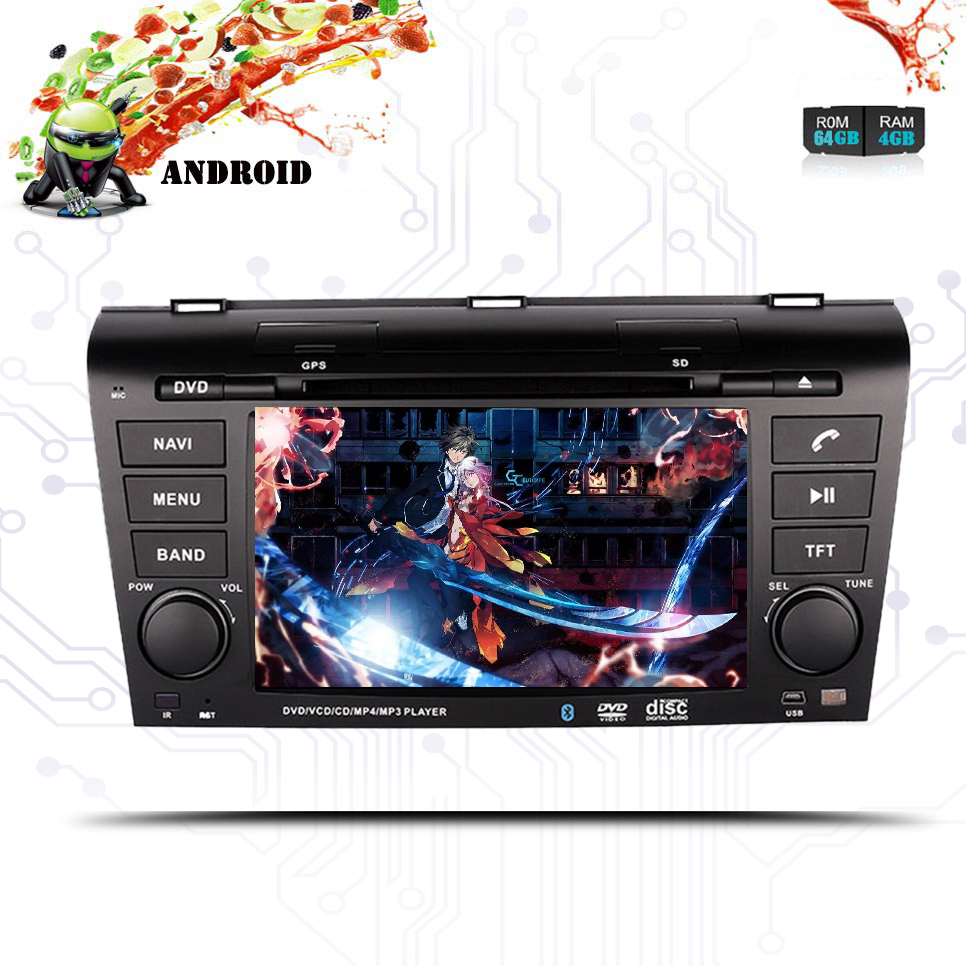 Android 9.0 2Din 1024*600 Car DVD <font><b>Multimedia</b></font> Player For 2004 2005 2006 <font><b>2007</b></font> 2008 2009 <font><b>Mazda</b></font> <font><b>3</b></font> Octa-core GPS Wifi Head Unit Map image