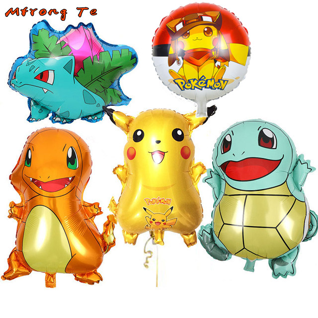 50pcs Cartoon Pikachu Pokemon Helium Inflatable Foil Balloons Children birthday party decorations first year old kids toys