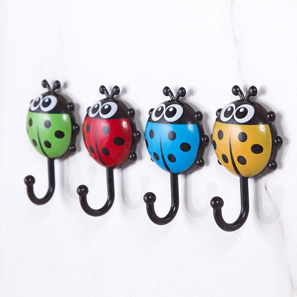2018 New Fashion Cute Creative Ladybug Bee Cartoon Bathroom Wall Hooks Sucker Nail Hook Wall Decor With High Quality Hot Sale#30