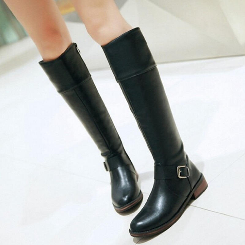 Plus Size 43 Fashion Buckle Round Toe Side Zipper Top Quality Brand Womens Flat High Ladies Knee Boots Shoes Woman Rain Boots new 2017 spring summer women shoes pointed toe high quality brand fashion womens flats ladies plus size 41 sweet flock t179