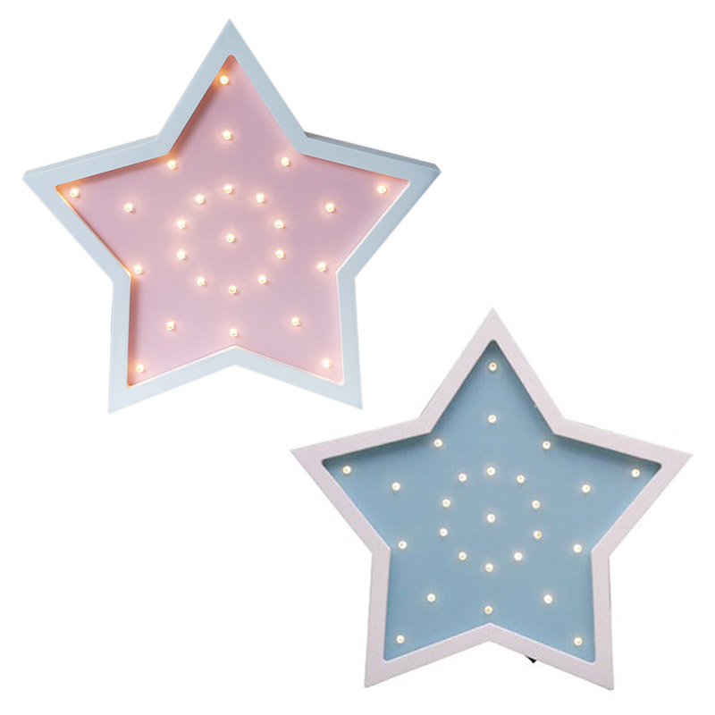 Star LED Night Light For Children Gift Creative Five Pointed Star Night Lamp Wooden Decor Home Wall/Desk Lights Indoor Lightin