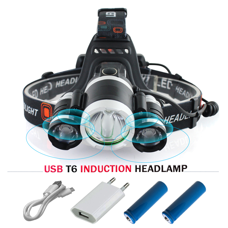 Portable Lighting infrared sensor headlight USB head lamp CREE XML T6 LED headlamp 3 mode 18650 charge battery mining headlights
