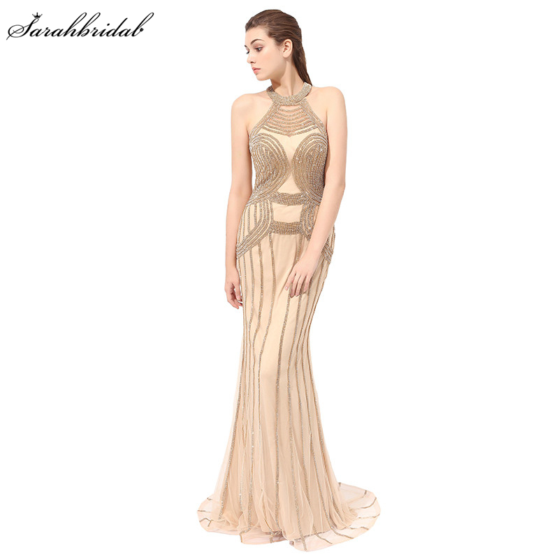 Sexy Formal   Evening     Dresses   with Mermaid High Collar Sleeveless Sexy Back Floor Length Beaded   Evening     Dresses   LSX408