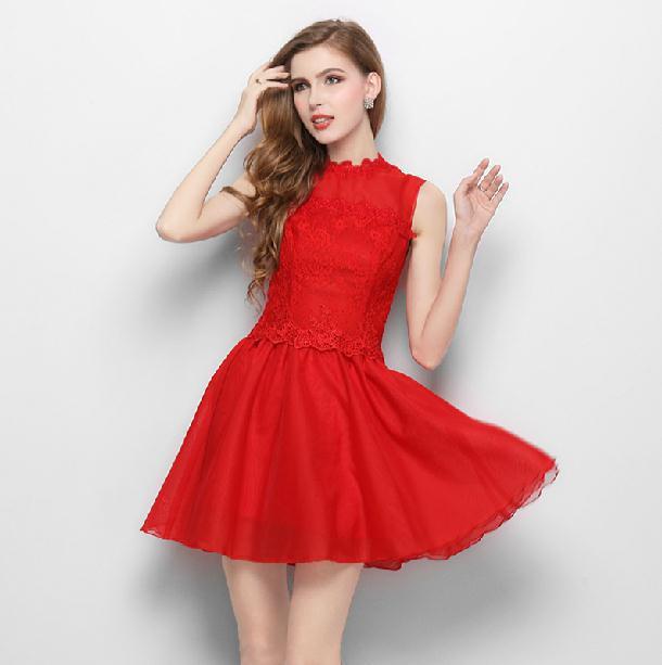 Fashion New 2014 Short Evening Dress Slim Red One Piece