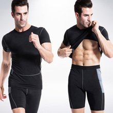 Yuerlian 2017 Black Compression Fitness Tights Running Quick Dry Gym Sportswear T-Shirt Shorts Tracksuit Sets Men Sports Suit