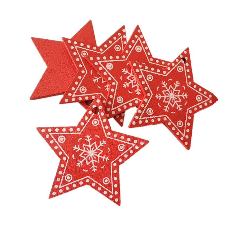 New Year 2020 Christmas Snowflake Wooden Pendant Xmas Tree Decorations for Home Wood Hanging Crafts Navidad 2019 Noel Natal Deco 20
