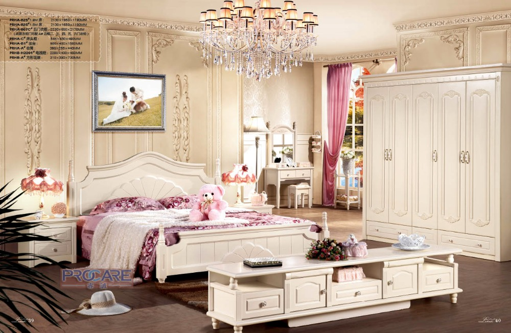 Simple Solid Oak Wood Kids Bedroom Furniture Set From China With Bed 5 Doors Wardrobe Beside Table Dressing Table