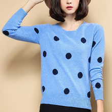 2017 New Dot Round neck Pullover, Slim Knitting Cashmere Sweater, Soft and Comfortable Bottoming Shirt Authentic Free Shipping