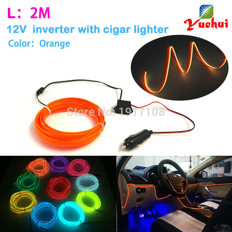 DC-12V By 10 Color Choice Car party Decor LED Thread Indoor Decals Tags Flexible Neon Light 2M 2.3mm-Skirt EL Wire Rope Tube