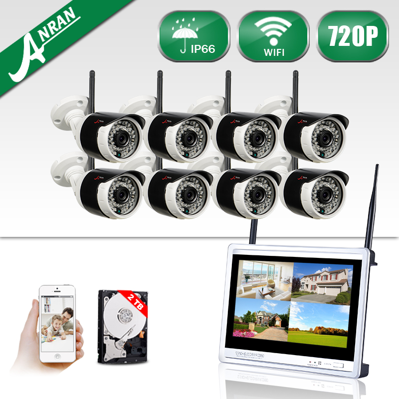 New! Plug And Play 8CH 12''LCD Screen Wireless NVR Security System&720P Fulled-HD WIFI IP Camera Home IR Surveilance Kit 2TB HDD