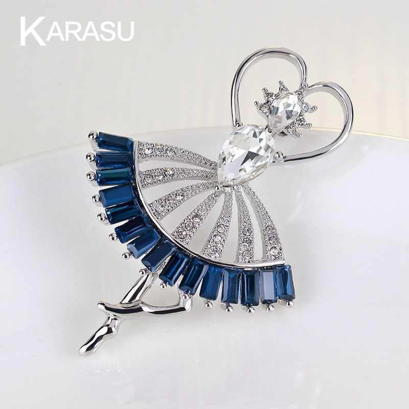 2017 Modis Kerajaan Biru Cantik Menari Perempuan Jantung Berlian Buatan Bros Aksesoris Perhiasan Bros Jarum untuk Wanita & Perempuan Perhiasan