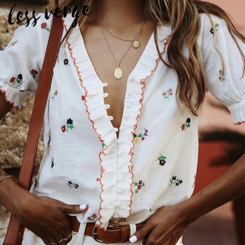 lessverge Floral ruffles v neck women   blouse     shirt   Prairie short sleeve white ladies tops Casual vintage camisas mujer blusas