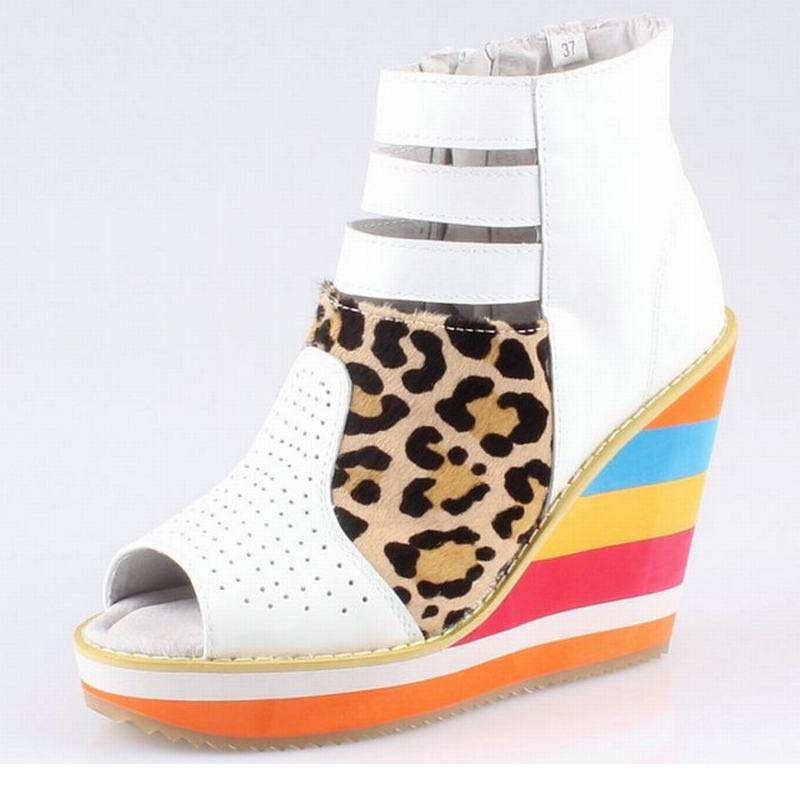 Fashion Cut-out Platform Wedges Women Leopard Summer Boots Sexy Open Toe Pumps Gladiator Sandals Genuine Leather Sheepskin Shoes