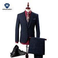 Высокое качество Для мужчин S Бизнес Костюмы Slim Fit 3 предмета классический темно синий итальянский мужской костюм свадебные Женихи Роскошны
