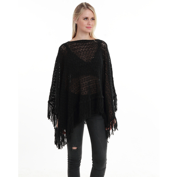 New Autumn Fashion Woman Poncho Hollow Tassel Loose Sweater For Women Pullover plus size Thin Sweater Loose Shawl 2