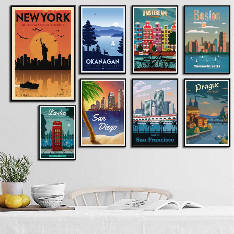P668 New York Netherlands Moscow London Vintage Travel Cities Landscape Art Painting Silk Canvas Poster Wall Home Decor
