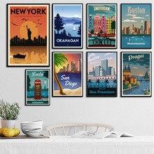 P668 Nueva York Países Bajos Moscú Londres Vintage viajar ciudades paisaje arte pintura lienzo seda póster pared decoración del hogar