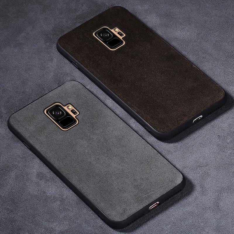 Étui de téléphone Pour Samsung Galaxy S9 Plus S7 S8 A3 A5 A7 J3 J5 J7 2017 Note 8 9 Anti -frapper Daim Cuir Fundas Résistant à La Saleté Coque