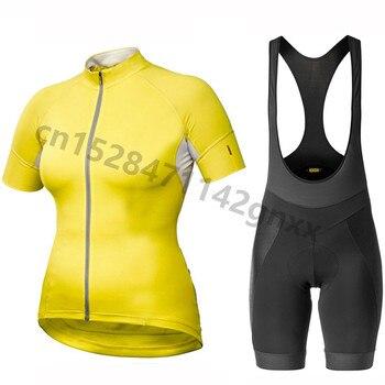 2019 été Mavic femmes cyclisme Jersey à manches courtes ensemble Maillot Ropa Ciclismo séchage rapide vélo vêtements vtt Uniforme Cycle vêtements
