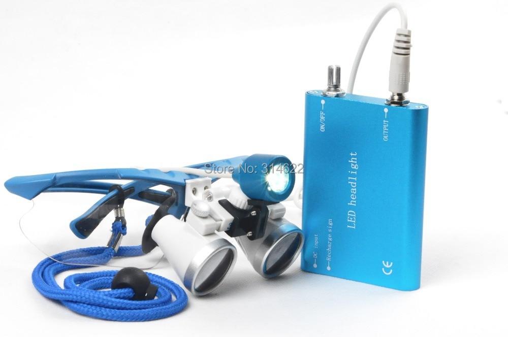 ФОТО CE&FAD Blue Dental Surgical Loupe Magnifier, binocular magnifier with LED Head Light Lamp dental loupes