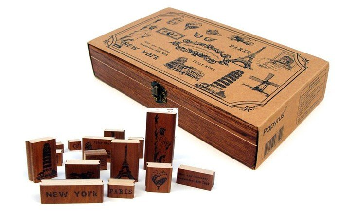 1 Box Retro Scenic Spot Wooden Stamp Making Memories Stamp Set illusion money box dream box money from empty box wonder box magic tricks props comedy mentalism gimmick
