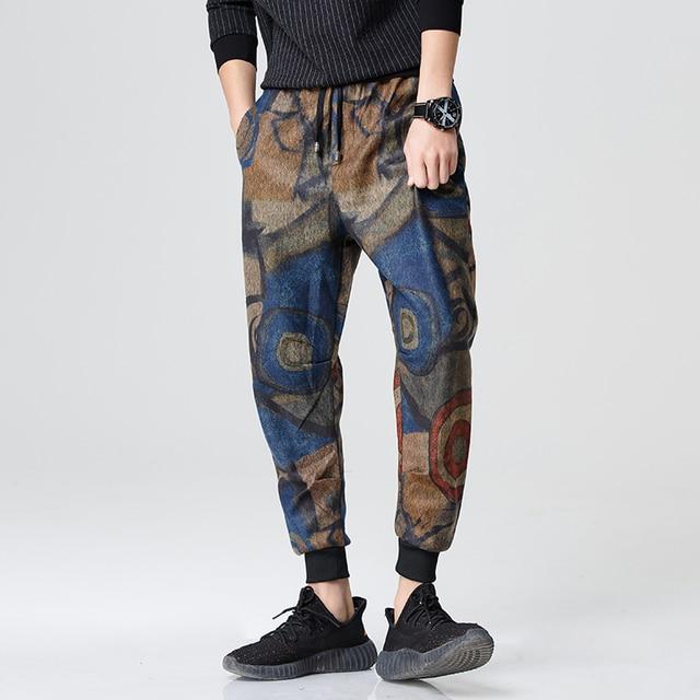 Homme Vêtements la Pantalon 2018 Coton 3XL Hop Pantalon Marque taille plus Floral Printemps Hip Japonais q7wRvFI