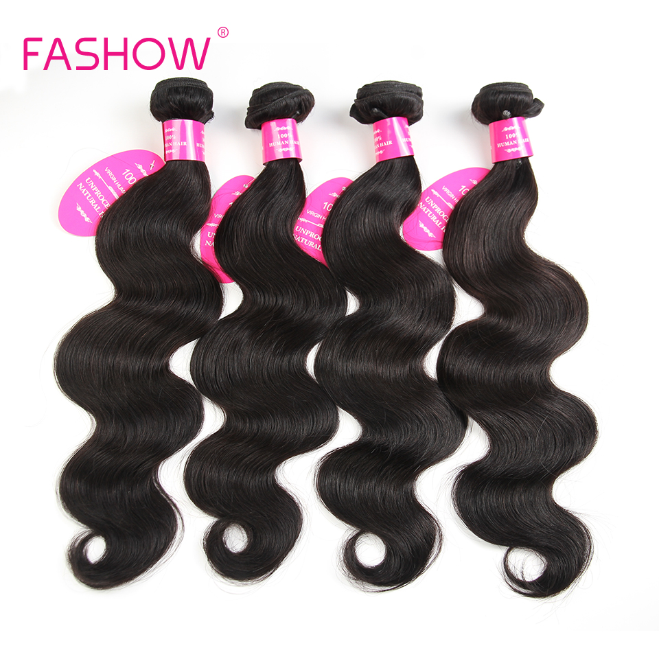 Fashow Hair Brazilian Body Wave 4 <font><b>Bundles</b></font> Human Hair Extensions Natural Color Double Weft 10 12 14 16 18 20 <font><b>22</b></font> <font><b>24</b></font> <font><b>26</b></font> <font><b>28</b></font> Inches image