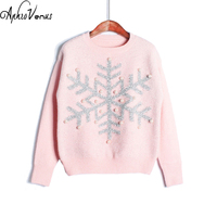 Winter Sweater Women Pullover Candy Color Christmas Sweater Character Snow Pullover Jumper Knitted Sweater Femme Fall