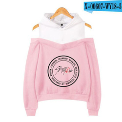 Korean Fashion KPOP Stray Kids Hoodie Women Long Sleeve Off-Shoulder Hooded Sweatshirts Harajuku Tracksuit Streetwear Clothes 4