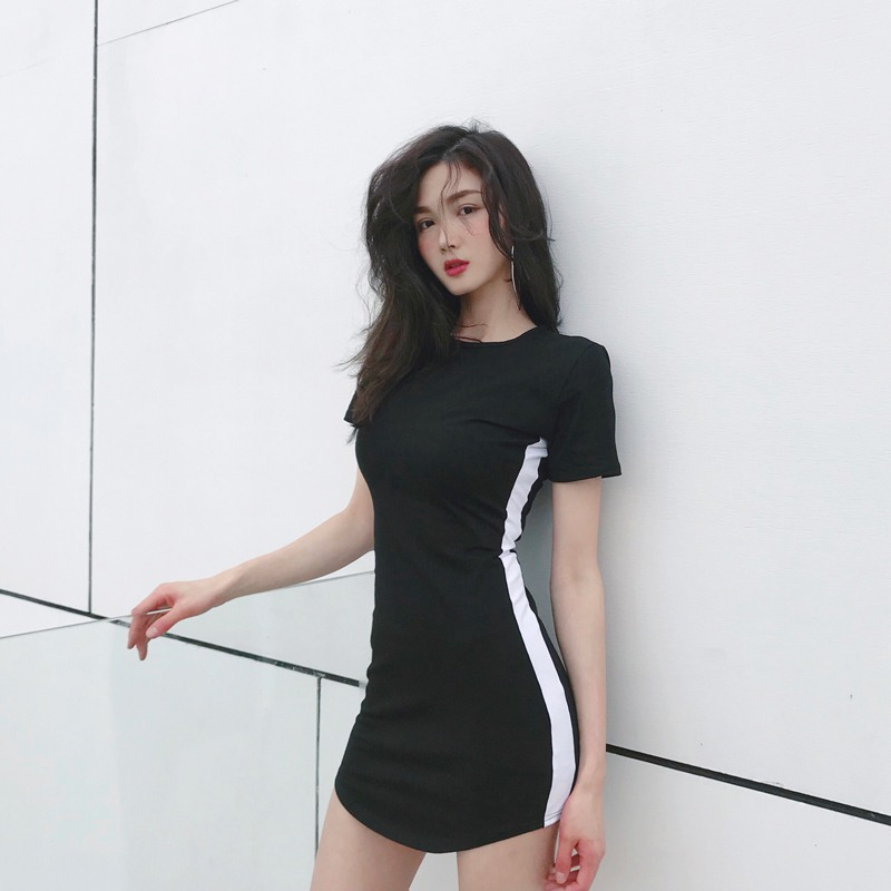 Women Bodycon Striped Printed <font><b>Sexy</b></font> Mini Dress Short Sleeve O-Neck Slim Dresses Harajuku <font><b>Vestidos</b></font> <font><b>Verano</b></font> <font><b>2018</b></font> image