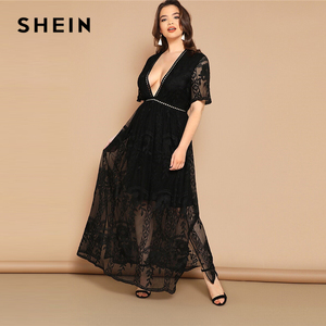 Image 2 - SHEIN Plus Size Black Eyelet Lace Insert Plunge Neck Mesh Overlay Dress 2019 Women Summer Glamorous Deep V Neck High Waist Dress