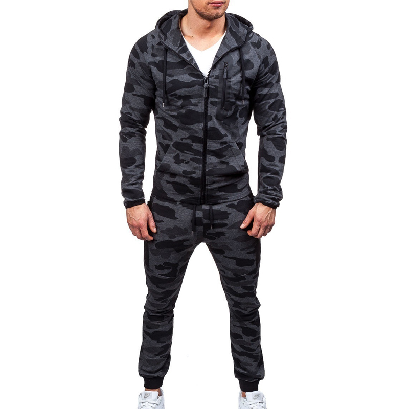 ZOGAA  Slim Hooded Short Nylon Camouflage Sunscreen Two Piece Sets Casual Zipper Hooded Sweatshirt Sweatsuit Men Sets