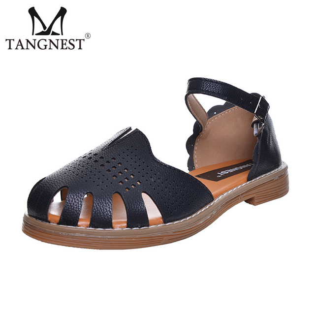 1038753c26f Tangnest Sweet Clog Sandals Women NEW Summer Ankle Strap Wedge Sandals  Fashion Cut-out Low Heel Shoes Woman Size 35~40 XWZ448