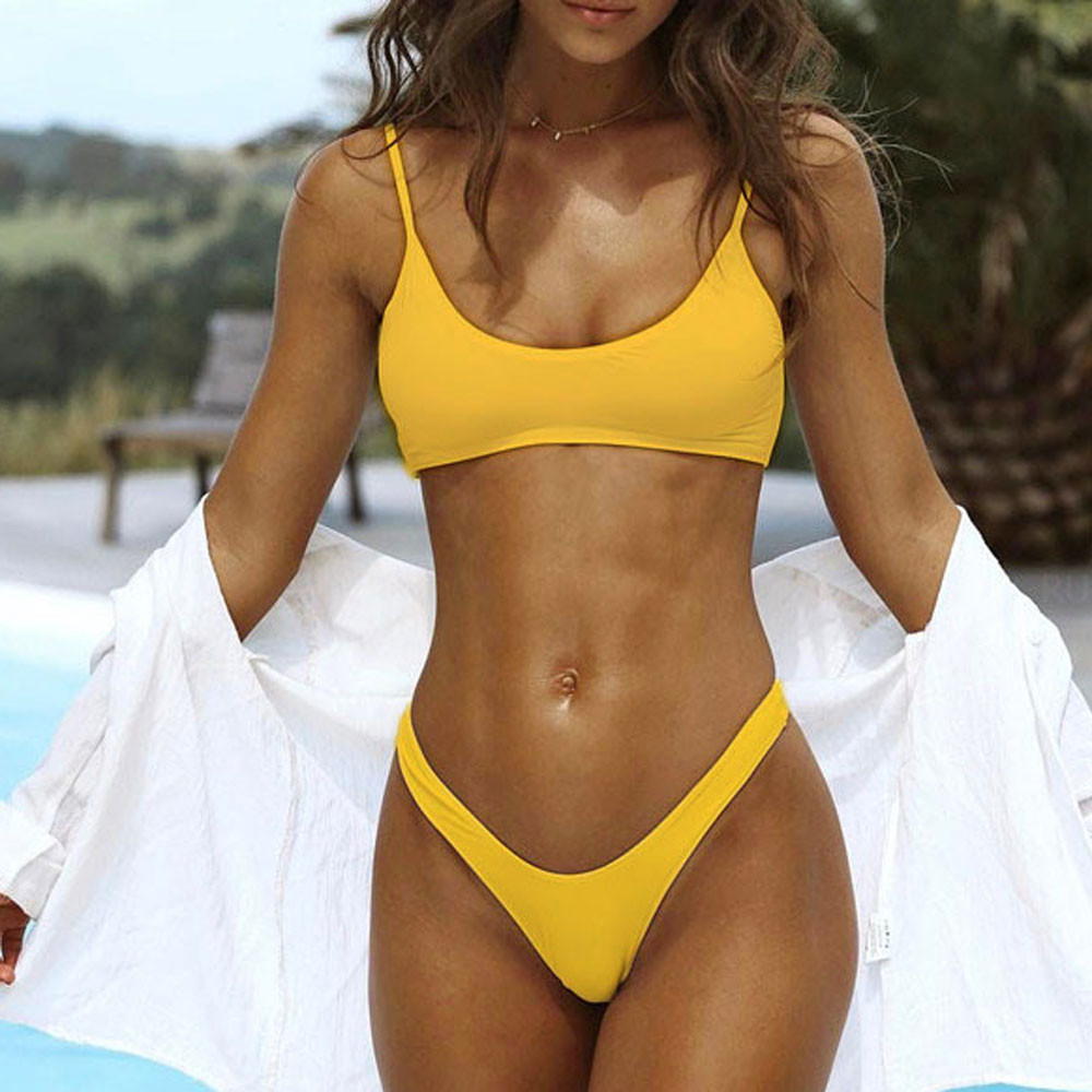 Swimwear Women Yellow Bikini 2019 Sexy Bikini Push Up Solid Bathing Suit Women Beachwear Swiming Suit Womens Bikinis 2019 Mujer