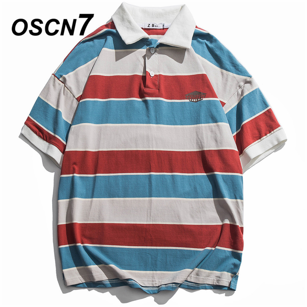 OSCN7 Stripe Short Sleeve Men's Casual   Polo   Shirt Women 2019 Summer Japanese Streetwear Trend Hip Hop Top Tee Men 13380