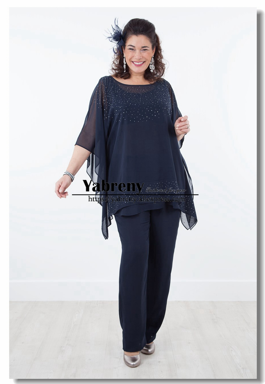 Navy Mother Of The Bride Pant Suits Dresses Overlay Top Trousers Set With Hand Crystal 2019 New Arrival