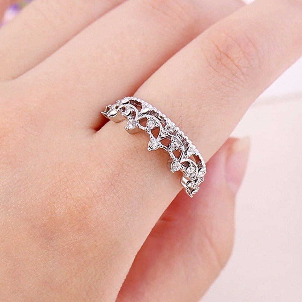 Fashion Princess Silver Plated Rhinestone Crown Wedding Ring Size 16 ...