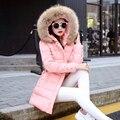 Mulheres jaqueta de inverno casaco parka manteau femme casacos das mulheres jaquetas e 2016 de pele jaqueta feminina moda longo para baixo parkas para nova