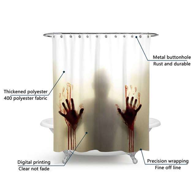 Placeholder Halloween Bloody Shower CurtainHelp Me With Hands Horror Scary SpookyWaterproof Bath