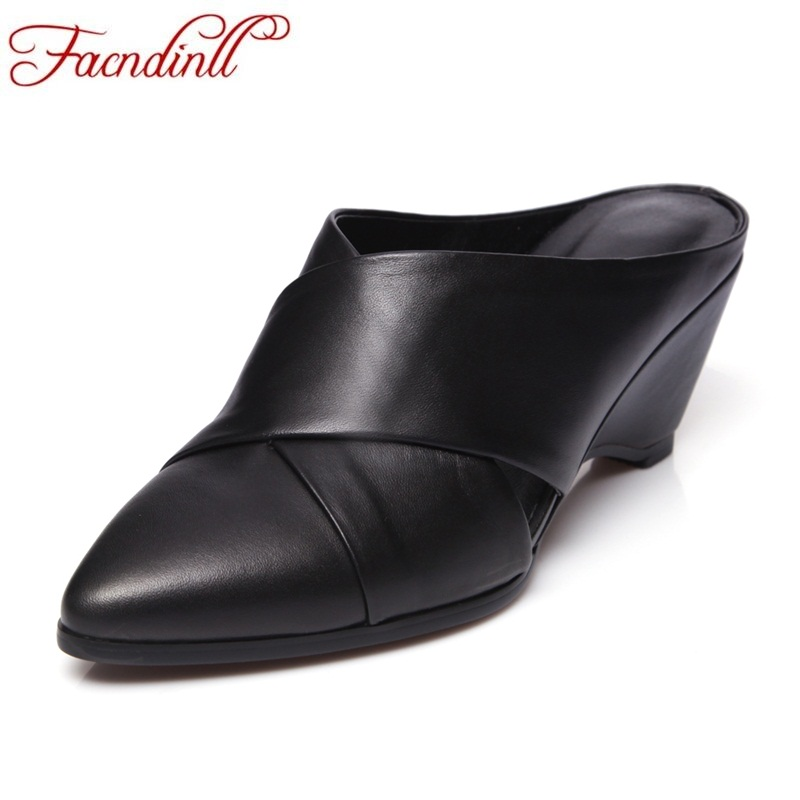 FACNDINLL genuine leather women sandals 2018 new fashion summer black and white dress shoes ladies shoes wedges shoes for women facndinll genuine leather sandals for