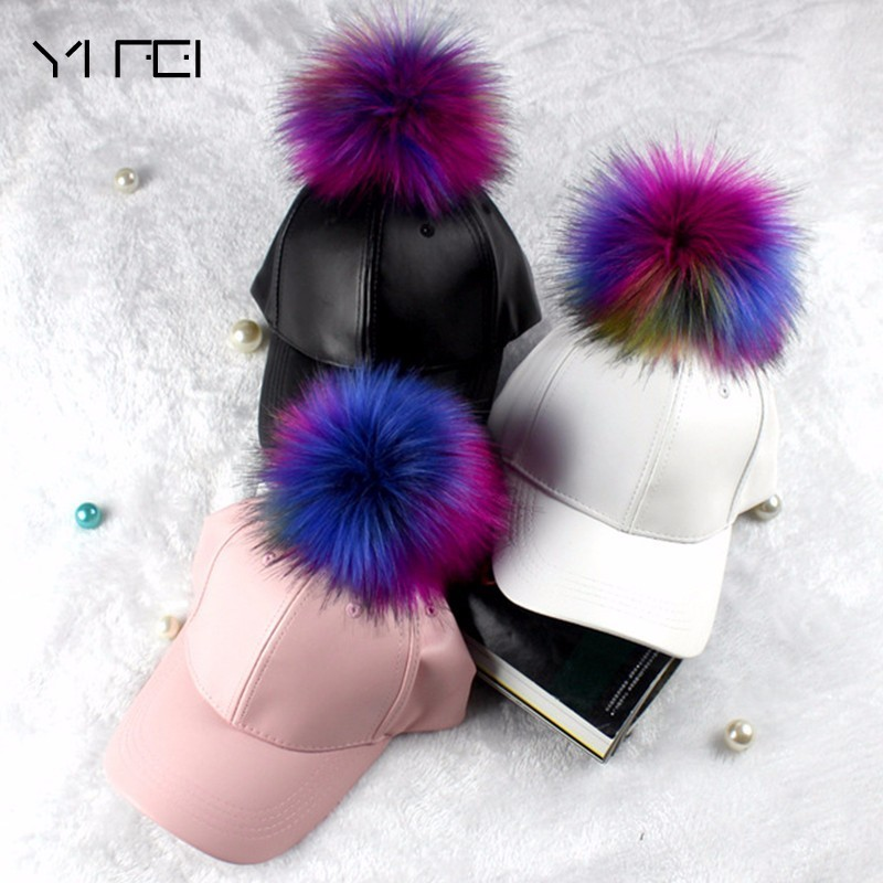 NEW High-quality Fur Colors Ball   Baseball     Cap   For Women Leather PU Adjustable   Cap   Fur Pom Pom   Cap   Fashion Hiphop Hat