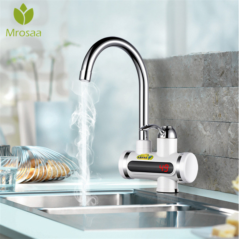 220V Instant Tankless Electric Hot Water Heater Faucet Instantaneous Kitchen Fast Electric Faucet Crane Instant Heating Tap