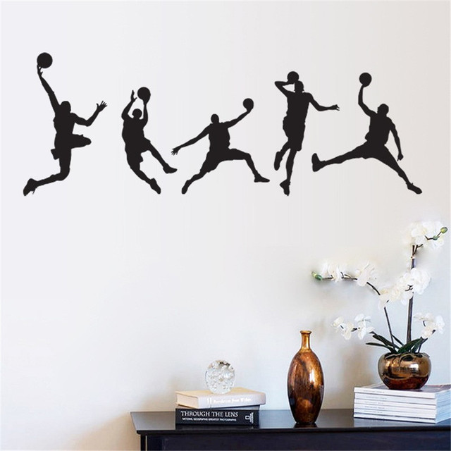 Playing Basketball Wall Stickers For Classroom Students Room Decorations  Sport Decals Wall Art Diy Children Sticker