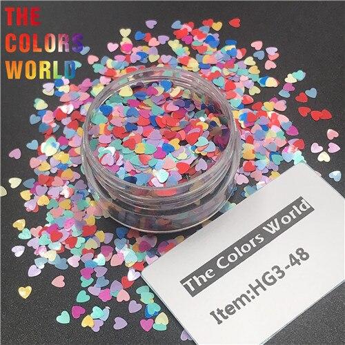 TCT-290 в форме сердца День Святого Валентина цвет блеск для ногтей художественное украшение макияж блеск для тела фестиваль DIY украшение аксессуар - Цвет: HG3-48  50g