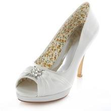 Gefaltetes ivory weiß silber kristall plattform hochzeit kleid braut hochzeit schuhe 4 zoll high heels stilettos 521-24 Mt