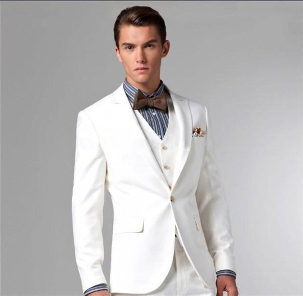 Three Pieces High Quality Custom Made Men's Clothing Suprem Off White Jacket For Men Long Sleeve Blazer Men Coat Groomsmen Suits