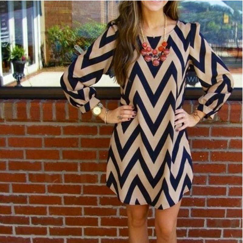 Vestido de verão feminino elegante listrado onda impressão camisa feminina mini vestido vestidos senhoras magro manga longa o pescoço casual