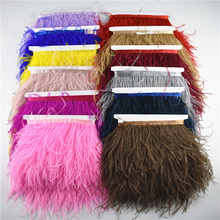 1 Meter 10-15CM Ostrich feather trims for skirt/dress White ostrich feathers ribbon DIY For Crafts Plumage Clothing