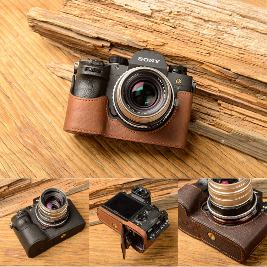[VR] Fashion Genuine Leather Camera Case Bag Handmade Half Body For Sony A9 A-9 A7R-M3 A7R Mark III Handle Camera Bag Cover [vr] brand handmade genuine leather camera case for sony a7ii a7 mark 2 a7r2 a7r ii camera bag half cover handle vintage case